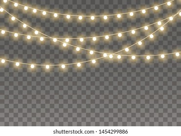 Christmas lights isolated on transparent background for cards, banners, posters, web design. Set of golden xmas glowing garland Led neon lamp Vector illustration