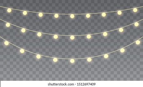 Christmas lights isolated on transparent background for cards, banners, posters, web design. Glowing lights for Xmas Holiday cards, banners, posters, web design. Garlands decorations.