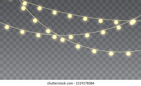 Christmas lights isolated on transparent background for cards, banners, posters, web design. Glowing lights for Xmas Holiday cards, banners, posters, web design.