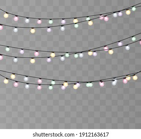 Christmas lights isolated on transparent background. Vector graphics
