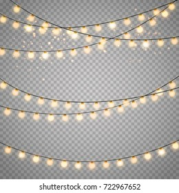 Christmas lights isolated on transparent background. Set of golden xmas glowing garland with sparks. Vector illustration