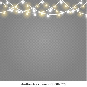 Christmas lights isolated on transparent background. Xmas glowing garland. Vector illustration