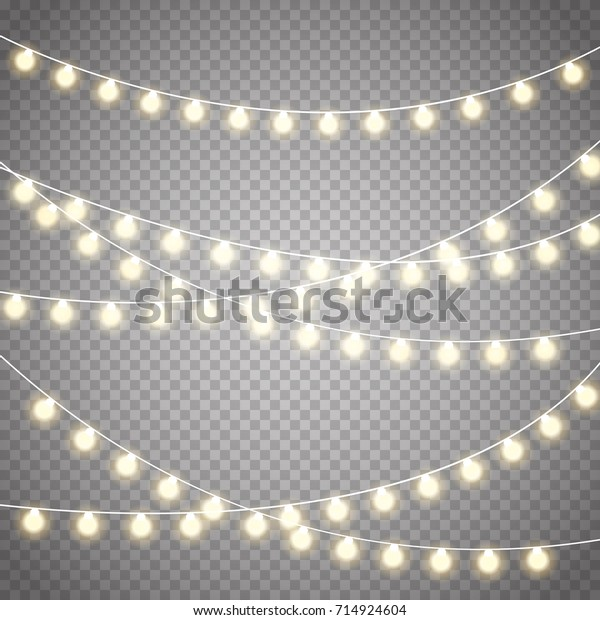 Christmas Lights Transparent Background.Christmas Lights Isolated On Transparent Background Stock
