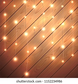 Christmas lights isolated on wooden background. Glow garland. Vector glow xmas light bulbs