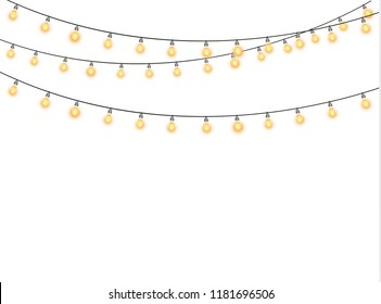 Christmas lights isolated realistic design elements. Glowing lights for the Christmas holidays, banners, posters, web design. Ornaments of a garland.