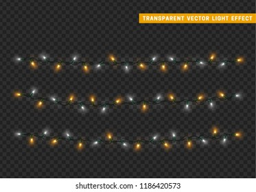 Christmas lights isolated realistic design. Lights garlands color white and yellow. Glowing Xmas decorations.