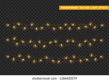 Christmas lights isolated realistic design. Lights garlands color yellow. Glowing Xmas decorations.