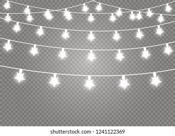 Christmas lights isolated realistic design elements. Glowing lights for Xmas Holiday cards, banners, posters, web design. Garlands decorations. Led neon lamp