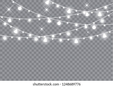 Christmas lights isolated realistic design elements. Glowing lights for Xmas Holiday cards, banners, posters, web design. Garlands decorations. Led neon lamp. Vector illustration.
