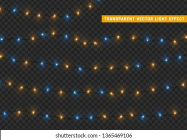 Christmas lights, isolated realistic design elements on transparent background.