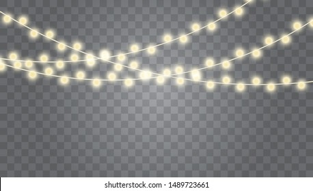 Christmas lights isolated realistic design elements. Garlands, light Christmas decorations. Xmas glowing garland. Vector illustration