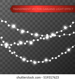 Christmas lights isolated realistic design elements. Glowing lights for Xmas Holiday greeting card design. Garlands, Christmas party decorations.  Beautiful light background. Vector illustration.