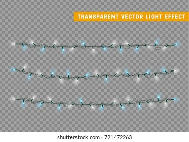 Christmas lights isolated realistic design. Lights garlands color white and blue. Glowing Xmas decorations.