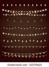 christmas lights on dark background. vector set eps10