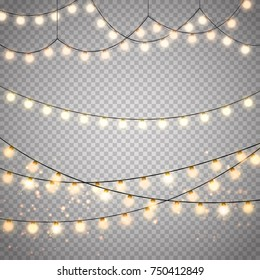 Christmas lights set isolated. Vector template