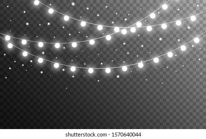 Christmas lights and snow flakes on transparent backdrop. Realistic luminous elements. Glowing silver garlands. Bright light bulbs for website, card or poster. Vector illustration.
