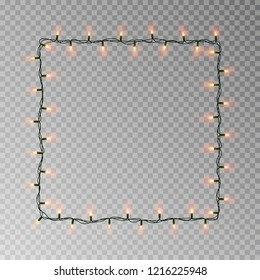 Christmas lights square vector, light string frame isolated on dark background with copy space. Transparent decorative garland border. Xmas light border effect. Vector illustration.