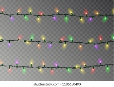Christmas lights string vector isolated. Transparent effect decoration on dark background. Realistic Christmas garland vector. Winter xmas glowing lights string. Banner illustration.