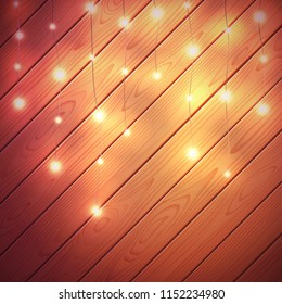 Christmas lights. Vector glow Xmas garland with wooden background.