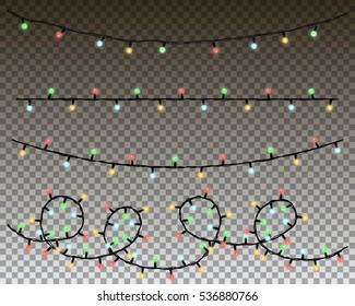 christmas lights vector set.