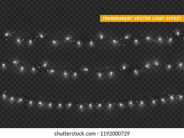 Christmas lights, Xmas decorations glowing white garlands.