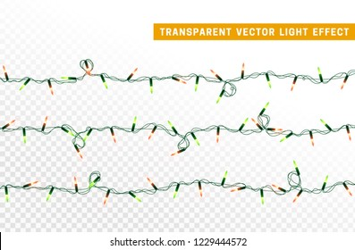 Christmas lights, Xmas decorations glowing red and green garlands. For light design background.