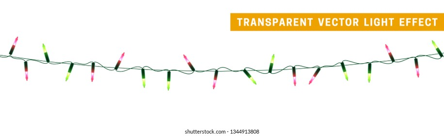 Christmas lights, Xmas decorations glowing green and pink garlands. For light design background.