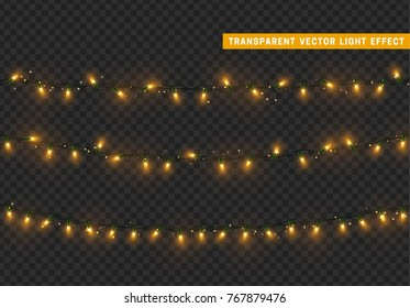 Christmas lights, Xmas decorations glowing garlands.