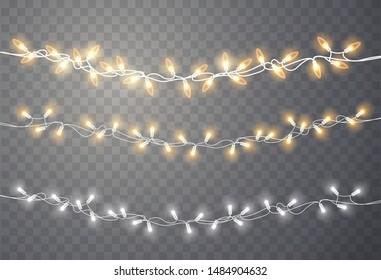 Christmas lights. Xmas string, vector glowing garland