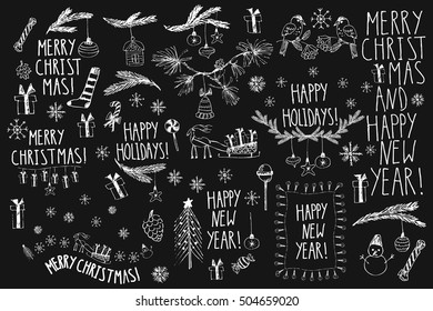 Christmas line art black and white drawings. Set of clipart for decoration, new year card, party invitation. Christmas tree, fir branches, ornaments, snowflakes, present box, sled, lights, cones.