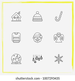 Christmas line icon set christmas, balls and snowflake etc