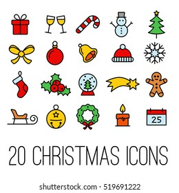 christmas line icons collection