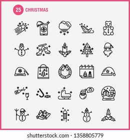 Christmas Line Icons Set For Infographics, Mobile UX/UI Kit And Print Design. Include: Santa Clause, Santa, Christmas, Winters, Santa Clause, Santa, Collection