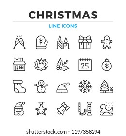 Christmas line icons set. Modern outline elements, graphic design concepts, simple symbols collection. Vector line icons