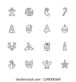 Christmas linear icon set on white, vector illustration for New Year and Christmas design
