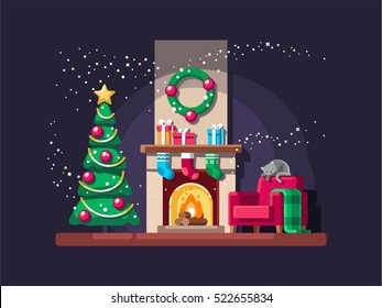 Christmas living room with tree, gifts and fireplace. Vector illustration.