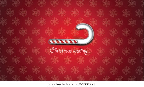 Christmas loading background with digital striped bar. Merry Christmas design with snowflakes and copy space. EPS 10 vector.