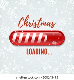 Christmas Loading bar on winter background with snow and snowflakes. Greeting card, brochure or poster template. Vector illustration.