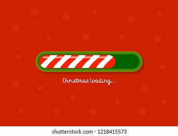 Christmas Loading. Red and green christmas candy cane style web progress bar on red background . Greeting card, web banner, landing page, brochure or poster template. Vector flat Illustration.