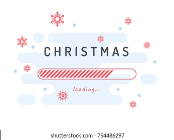 Christmas loading - vector illustration. Light blue background and red shapes.