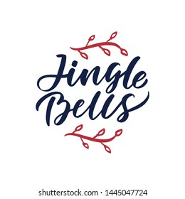 "Christmas logo ""Jingle bells"" hand drawn lettering. Xmas red, lettering. Calligraphy on white background. Composition for banner, postcard, poster design element stories, posts, etc. Vector eps10"