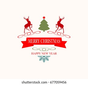christmas logo with christmas tree snowflake and reindeer - Merry Christmas Logos