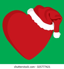 Christmas with love - a red heart wearing a Santa Claus hat on green background - Vector illustration