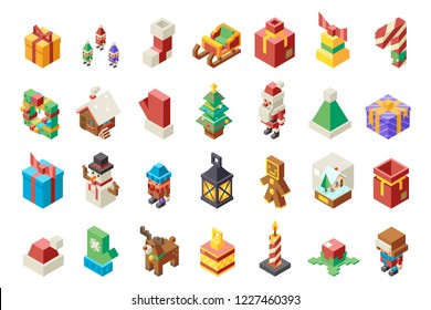 Christmas lowpoly polygonal new year 3d isometric isolated icons set flat cartoon design Vector Illustration