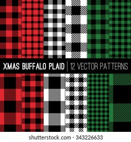 Christmas Lumberjack Buffalo Check Plaid and Pixel Gingham Patterns in Red, Green, White and Black. Trendy Hipster Style Xmas Textures. Vector EPS File Pattern Swatches made with Global Colors.