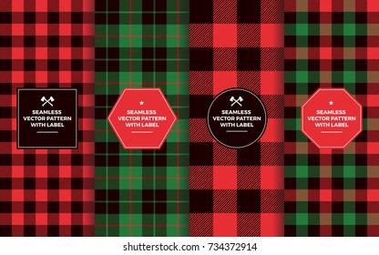 Christmas Lumberjack Seamless Patterns with Labels. Green Red Black Buffalo Check and Tartan Plaid. Trendy Hipster Textures. Copy Space for Text. Design Templates for Packaging, Covers, Gift Wrap.