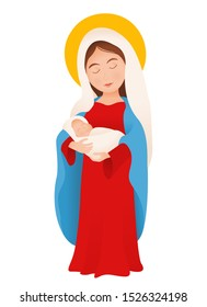 Christmas madonna vector virgin Mary with baby Jesus isolated on white
