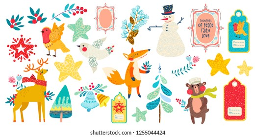 Christmas magic animal prints and other elements. Vector illustration.