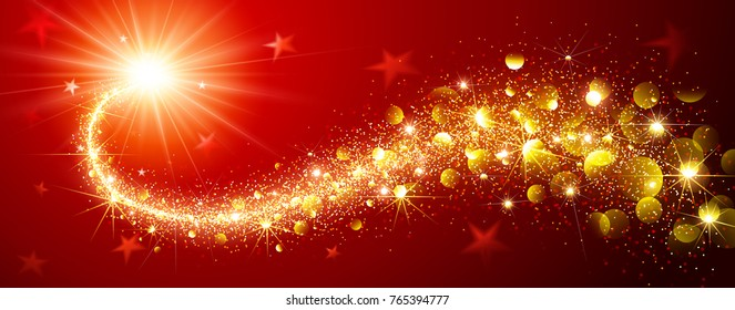 Christmas Magic Sparkling Star on a Red Background. Vector illustration