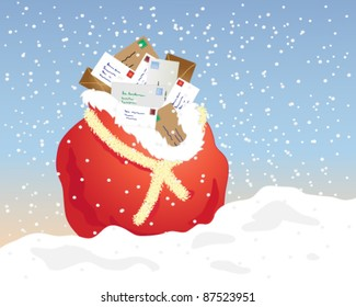 a christmas mail sack decorated with tinsel overflowing with letters on a snowy background vector illustration in eps 10 format